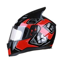 double flip motorcycle helmet Coupons - Motorcycle Helmet Flip Up Motobike Helmet With Inner Sun Visor Double Lens Modular Motocross Full Face Capacete Casco