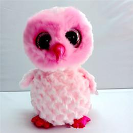 2019 ty beanie boos gufo Ty Beanie Boos 25cm rosa gufo peluche con gli occhi grandi farciti animali giocattoli da collezione per bambini ty beanie boos gufo economici