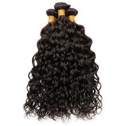 brazilian wet wavy hair Coupons - 9A Brazilian Indian Malaysian Peruvian Water Wave Virgin Human Hair Weaves Bundles Wet and Wavy Remy Human Hair Extensions Natural Color