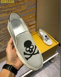 mens skull shoes Promo Codes - New designer individuality mens skull low sneakers driving board shoe suede leather men pirate sneaker Hombre 38-44