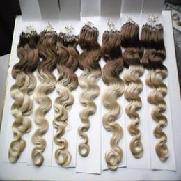 микрообъёмное удлинение ombre Скидка 100 г Body Wave Micro Loop наращивание человеческих волос Ombre Color Micro Loop Ring Hair Highlight Color Remy Pre Bonded Hair Extension 1G/1S