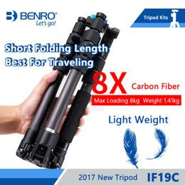 bolsas de trípode de cámara Rebajas Benro IF19C trípode de fibra de carbono portátil de viaje trípodes para cámaras reflex Monopod 5 Sección bolsa de transporte de carga máxima de 8 kg de DHL