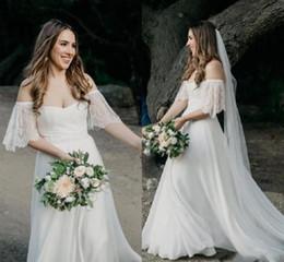 Садоводство онлайн-Летние пляжные чешские свадебные платья Western Garden Forest Bride Свадебные платья с открытыми плечами с короткими рукавами A Line Chiffon Robe de mariee