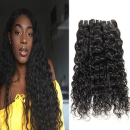 jet black human hair weft Promo Codes - Brazilian Hair Extensions Indian Human Hair Bundles Kinky Curly Body Wave Straight Loose Wave Water Wave Wholesale 3Bundles Jet Black