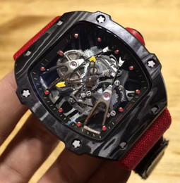 Vente en gros de marques suisses Nouveautés en fibre de carbone Luxe Homme Mécanique squelette montres Red Ribbon 27 Montre-bracelet étanche pour homme ? partir de fabricateur
