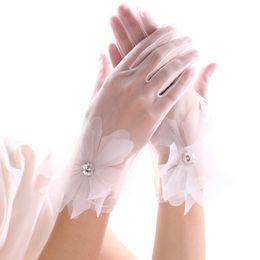 Корейские свадебные платья невесты онлайн-Сплошной цвет новой корейской свадьбы невесты свадебное платье элегантные белые кружева горный хрусталь короткие тонкие перчатки