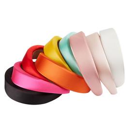 Banda di rosa di plastica online-FiEx New Glossy Satin Fasce per le donne multi-colore rosa chiaro 4 cm di larghezza 1.5 cm spugna di spessore di plastica Pad fasce per capelli regalo all'ingrosso