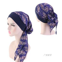 Готовая одежда онлайн-Роскошные шифоновые атласные женские мусульманские под хиджаб шапки мода принт обертывание эластичный головной платок готовые к использованию тюрбан шляпы капот