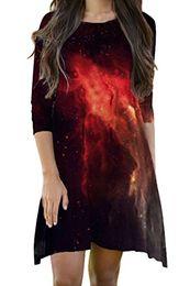 espaço da galáxia camiseta Desconto Meenew mulheres 3 4 manga outer space galaxy impresso solto fit camiseta dress