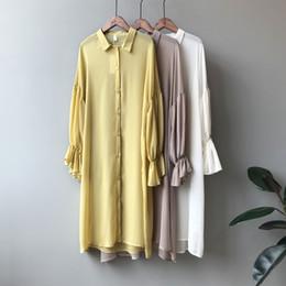 amarillo vestidos blusas Rebajas 2019 Nuevo Verano Tallas grandes Camisa Cardigan Vestido Manga Larga Linterna Delgada Amarillo Verde Rosa Blusa de Gasa Blanca