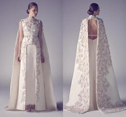 2019 Vestido de Noite Árabe de luxo com Cape Coluna Pescoço Laço de Champanhe Appliqued Cetim Marfim Zuhair Murad Vestidos de Desgaste da Noite de