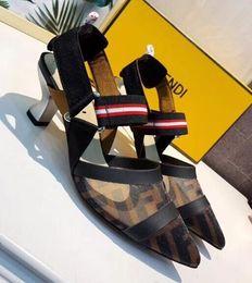 Canada 19SS New hot femmes Sandales Mesh Patchwork Stripes Strappy Talons Hauts Sandales Bout Pointu Boucle Élastique Slingback Ladies Party Chaussures Offre
