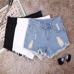 8a397e12e9 H Ripped Jeans Woman Summer Denim Shorts Women Torn Korea Jean Shorts High  Waist Hot Teenage Girl White Black XS 32 #446127