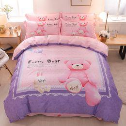 Cute Cartoon Bear Panda Dog Print Set biancheria da letto per bambini Queen King Size copripiumino lenzuola federa cotone Tessili per bambini da