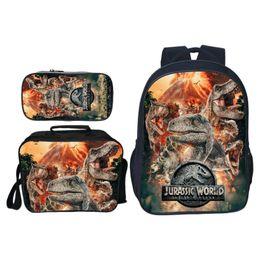 Niños mochilas niños online-3 unids / set Popular Moda Animal Impresión Jurassic World Children School Bags Dinosaur Boys Mochila Para Niños Mochila Para Niñas J190619