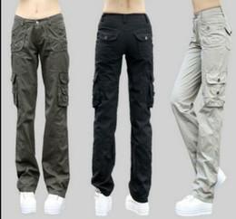 Pantalones holgados de jersey online-Nueva caliente 2019 modas de moda Señoras de la moda militar Pantalones de bolsillo de carga Pantalón holgado al aire libre SZ