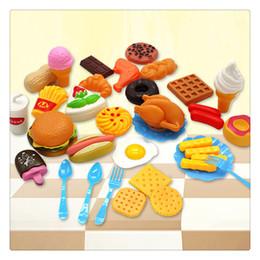 Cachorros de brinquedo de plástico para crianças on-line-Plástico fast food playset mini hamburger hambúrguer fritas de comida de cachorro quente para as crianças fingir jogar presente para as crianças