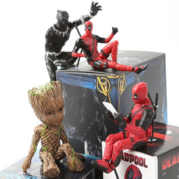 figurine di raccolta Sconti Marvel Toys X-man Deadpool Black Panther Groot Action PVC Figure 6 Stili Mini Doll Collection Regalo di natale Figurine Giocattoli per bambini Free DHL