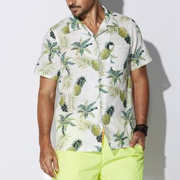 Shirt hawaii online-Mens Plus Size Camicie casual Designer Camicie Ananas Stampato bicchierini del manicotto estate camice di Hawaii Beach
