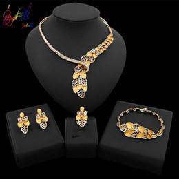 truthahnschmucksachen Rabatt Yulaili Trendy Kupferlegierung Blattgold Halskette Ohrstecker Armband Ring für Frauen Türkei Nigerianischen Hochzeit Schmuck Sets