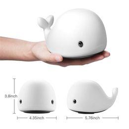 Juguete de silicona con delfines online-LED Night Light Sensor de movimiento Baby USB Cute Whale Recargable Niños Night Lamp Toy Light Silicona Safety dolphin JK0057A