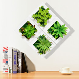 frames decorations walls Coupons - 3D Creative metope succulent plants Imitation wood photo frame wall decoration artificial flowers home decor