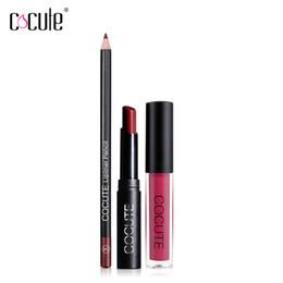 Texturas de labios online-Cocute Lip Makeup Set Mate Lustre Lipstick Liner Larga duración Impermeable Lipgloss Calidad Maquillaje Stick Colorido Textura Labios