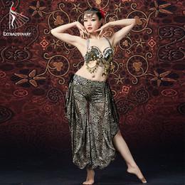 zigeuner-tops Rabatt ATS Frauen Tribal Bauchtanz BH und Hose Kette Metallic Vintage Münzen Gypsy Dance Tops Flare Hosen 2er Set Kostüme