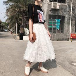 Elegante saia de penas on-line-Feminino Tassel Saia para as Mulheres cintura alta Chiffon saia uma linha branca Midi elegante Magro Feather saias das mulheres