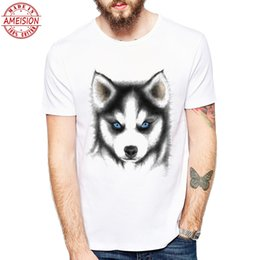 bermudas Desconto Homens e Roupas Bonito pug design Cão Husky Siberiano Impresso T Camisas Bonito Do Cão Mangas Curtas T-shirt