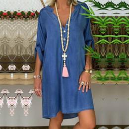 manga comprida camisa blusa comprimento do joelho Desconto Womens Denim Moda Outono Vestidos Blusa Ladies Long Sleeve Casual solta Top joelho Vestido camisa Hot Selling 2019 Novo