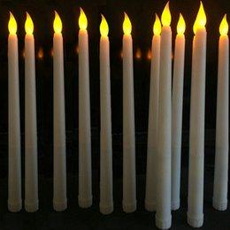 Velas de ámbar online-30 piezas 11 LED de batería pulgadas operados parpadeo lámpara de la vela tabla de vela de palillo de conicidad de Marfil sin llama 28cm (H) -Amber SH190924