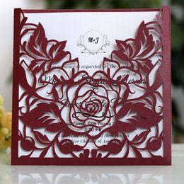 цветочные визитки Скидка Party Delicate Lace Pocket Invitation Card Set Business Lightweight Portable Paper Rose Flower Hollow Out Event Wedding Greeting