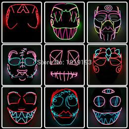 2019 figura de iluminación led de halloween ¡Barato! Figura de dibujos animados Led Neon Halloween Party Mask Birthday Holiday Light El Cold Light Fluorescent Cosplay Mask figura de iluminación led de halloween baratos