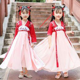 trajes de bebé chino Rebajas Hanfu Folk Dance Costume para niños Baby Girls Tangsuit Festival Outfits Traditional Ancient Chinese Style Prom Dresses DWY1914