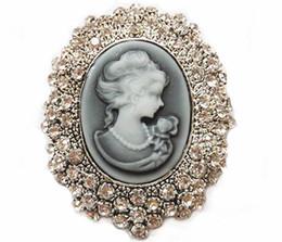 Spille cammeo online-300pcs di stile dell'annata della scintilla di cristallo del cammeo Studded Victoria testa della regina Spilla Donne Spilla Pin R287