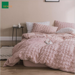 ruffle duvet set Promo Codes - Puff Check Design Bedding Suit Quilt Cover 4 Pics Ruffles Duvet Cover High Quality Bedding Sets Bedding Supplies Home Textiles