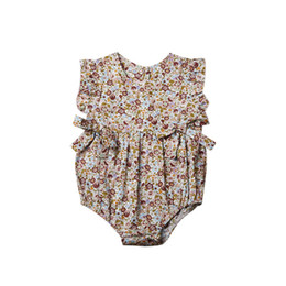 baby floral belts Promo Codes - Must-have New Fashions Designer Baby Girls Romper Clothes Floral Belt Short Sleeved Newborn Jumpsuit Newborn Romper Onesies 0-2T