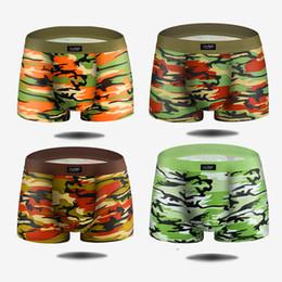 Pantaloni degli uomini di bambù online-Pantaloncini da uomo mimetici intimo boxer mutande corte di moda in fibra di carbone di bambù stampa boxer