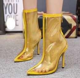 Новый стиль популярные сапоги на высоком каблуке ПВХ прозрачная задняя молния бежевый желтый цвет острым носом мода ботинок ясно обувь cheap beige pointed heels от Поставщики бежевые каблуки