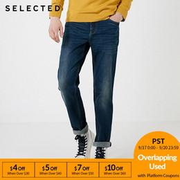2019 jeans de lycra Otoño Invierno de mezcla de algodón hombres seleccionados de lycra tramo recto Jeans Fit jeans de lycra baratos