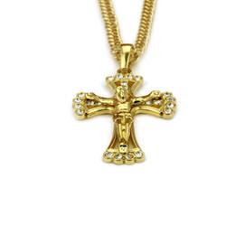 Venda da corrente da cruz de jesus on-line-Novo Jesus Designer Colares Hip Hop Cristal Bling Pingente Cruz Colar Moda Christian Cadeia Colar Venda Direta Da Fábrica