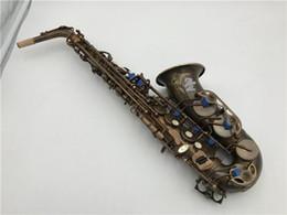 Caixas de sax alto on-line-Chegada nova M k VI Alto Eb Saxofone Tubo De Bronze E-flat Único Retro Sax Instrumento Musical Com Caso Frete Grátis
