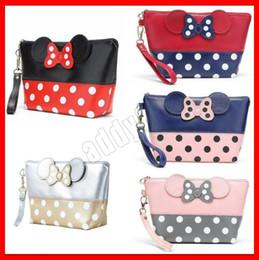 Bolsas de borboleta on-line-2019 Nova Cosméticos sacos Mickey Butterfly-nó Coloque-on Zipper Cosmetic Bag encantador Mickey Dot Bolsa de maquiagem saco de viagem de armazenamento Bolsas 5types