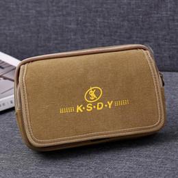 a67ea0f9462b Double Zippers Men Fanny Pack Mobile Phone Bag Black Brown Canvas Coin Purse  Burse Pocket Fabric Bags Waist Packs Man Purses