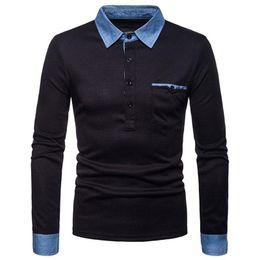 2019 mangas compridas t shirt jeans homens Chegada Nova Primavera Outono Jean Collar Shirt For Men luxo de manga comprida Casual Tees Polos Stylish T-shirt grátis mangas compridas t shirt jeans homens barato