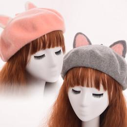 orecchie di gatto rosa cosplay Sconti cappelli per le donne Cappello da orecchio per le donne Cappello da orecchio per le donne Cappello da berretto di lana carino rosa / grigio / bianco