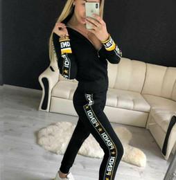 2019 Casual Chándal Mujer 2 Piezas Set Sudadera con cremallera Chándal de rayas Sudadera de manga larga + Pantalones Conjuntos de mujeres desde fabricantes