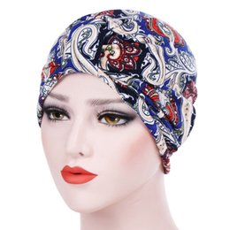 ladies muslim cap Coupons - Muslim Female Hats for Women Headscarf Vintage Paisley Print Turban Chemotherapy Caps for Ladies Girls Cancer Chemo Hats femme