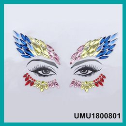 2019 feridas falsas Tatuagem Rosto Jóias Mulheres Sexy Olhos De Cristal Gems Etiqueta Música Dia Partido Maquiagem Body Art Flash Glitter Etiqueta 4 peças / lote